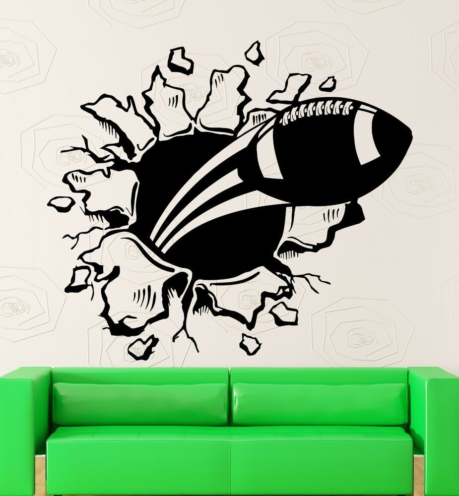 Vinyl decal american football ball witty room boys decor for Stickers para pared