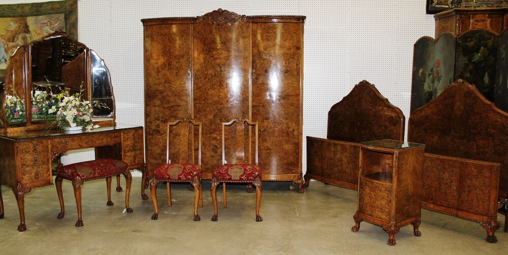 Antique country french claw feet burl walnut six piece bedroom set