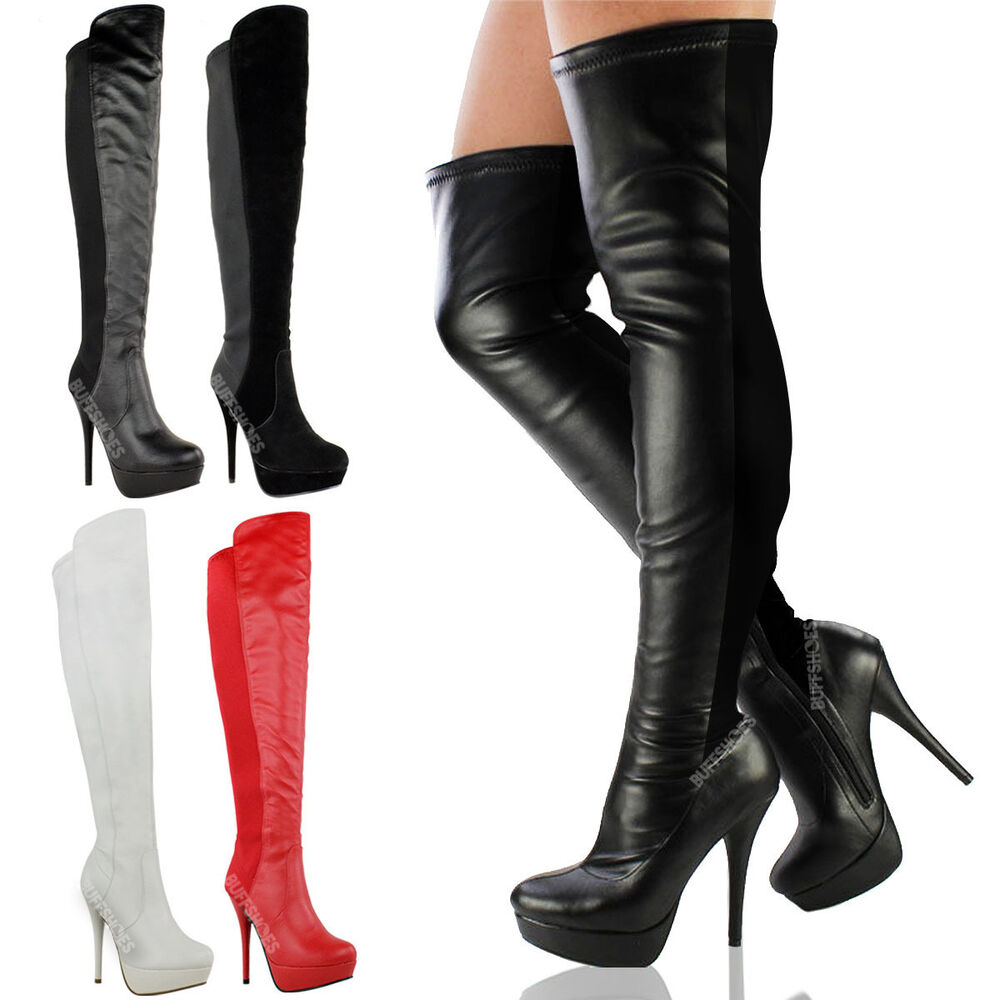 womens black the knee thigh high heel