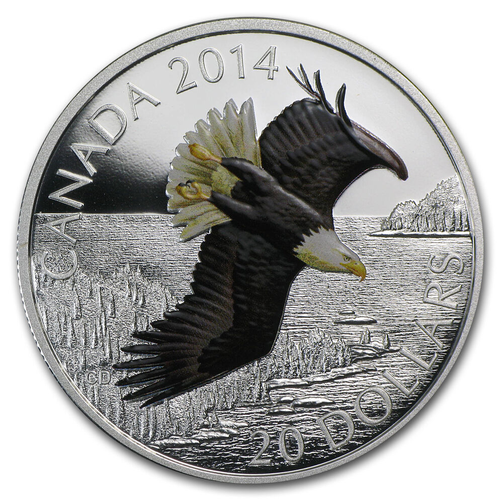 2014 1 Oz Silver Canadian 20 Soaring Bald Eagle Coin