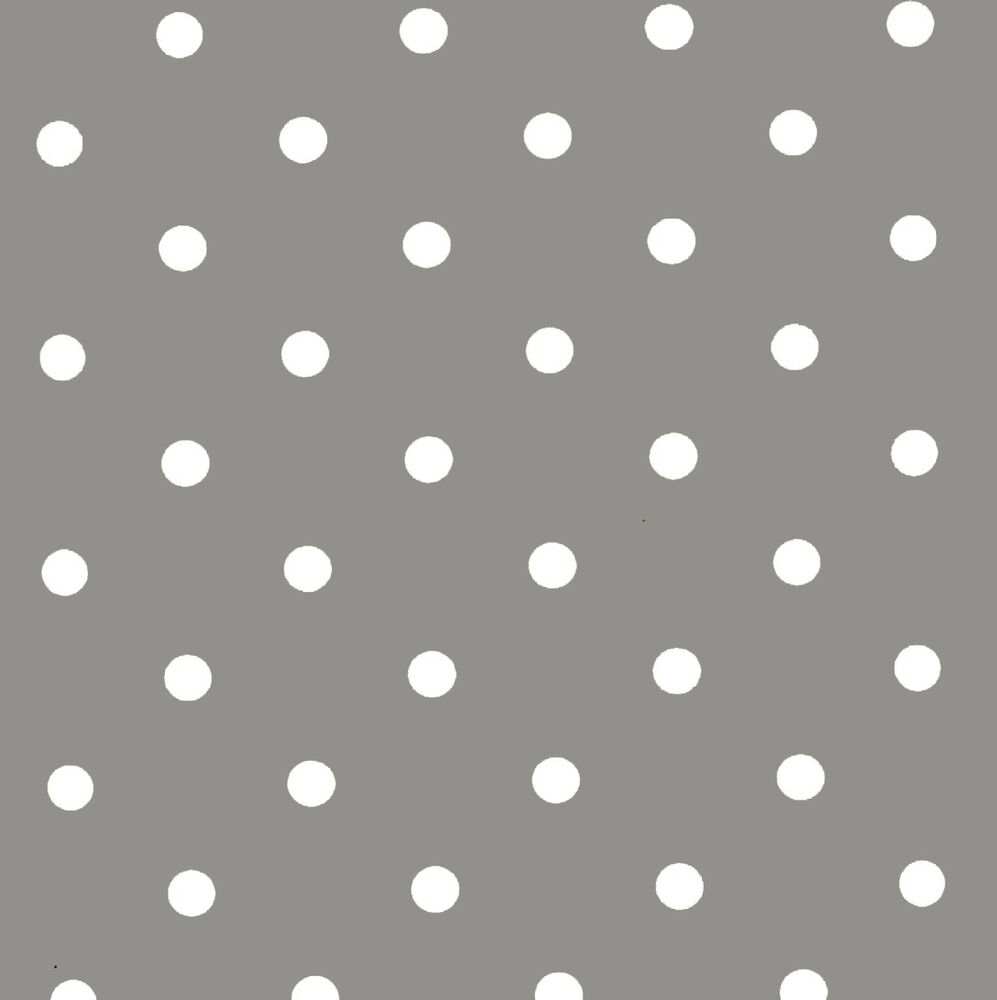 Grey Slate White Polka Dot Spot Vinyl Wipe Clean Pvc