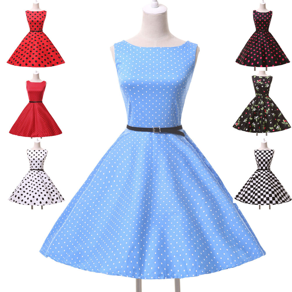 Lady NEWEST Rockabilly 50s 60s Vintage Party Swing Retro Prom ...