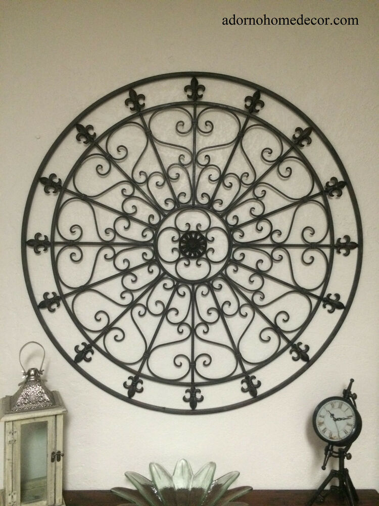 Rustic Antique Wall Decor : Large round wrought iron wall decor rustic scroll fleur de