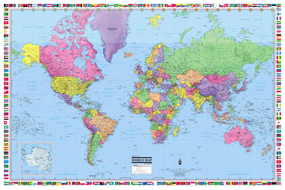 World Wall Map Poster 36 x24 Multi Color Paper Factory Folded eBay