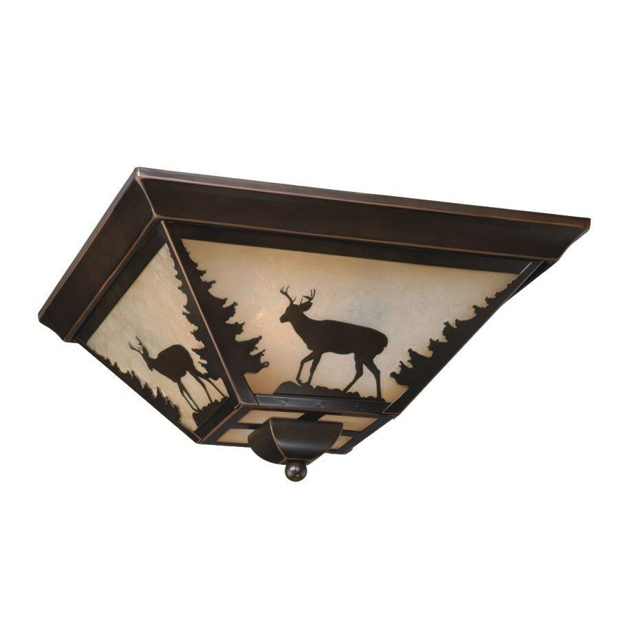 NEW 3 Light Rustic Deer Flush Mount Ceiling Lighting