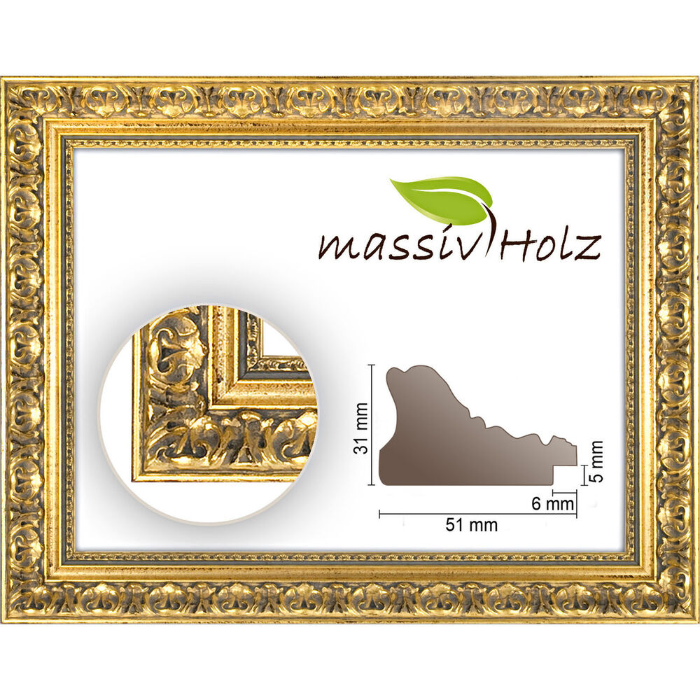 Baroque frame 972 oro gold ornamented without glass and - Picture frame without glass ...