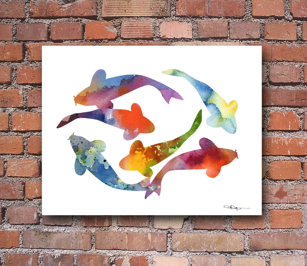 Koi fish abstract watercolor painting art print by artist for Koi fish paintings prints