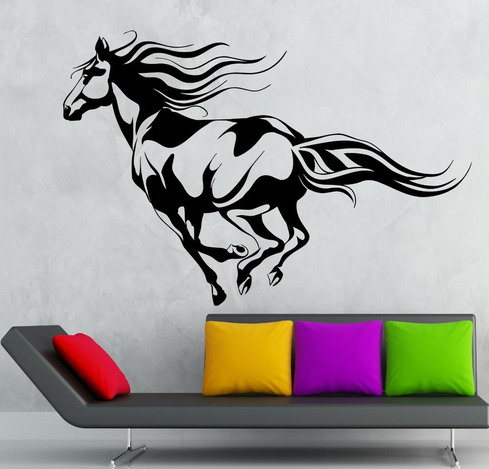 Wall sticker vinyl decal beautiful horse animal rides for Space decals