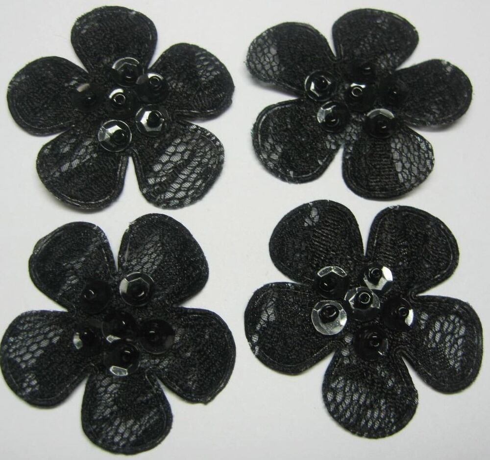 40 black embossed sequin beaded lace flower appliques