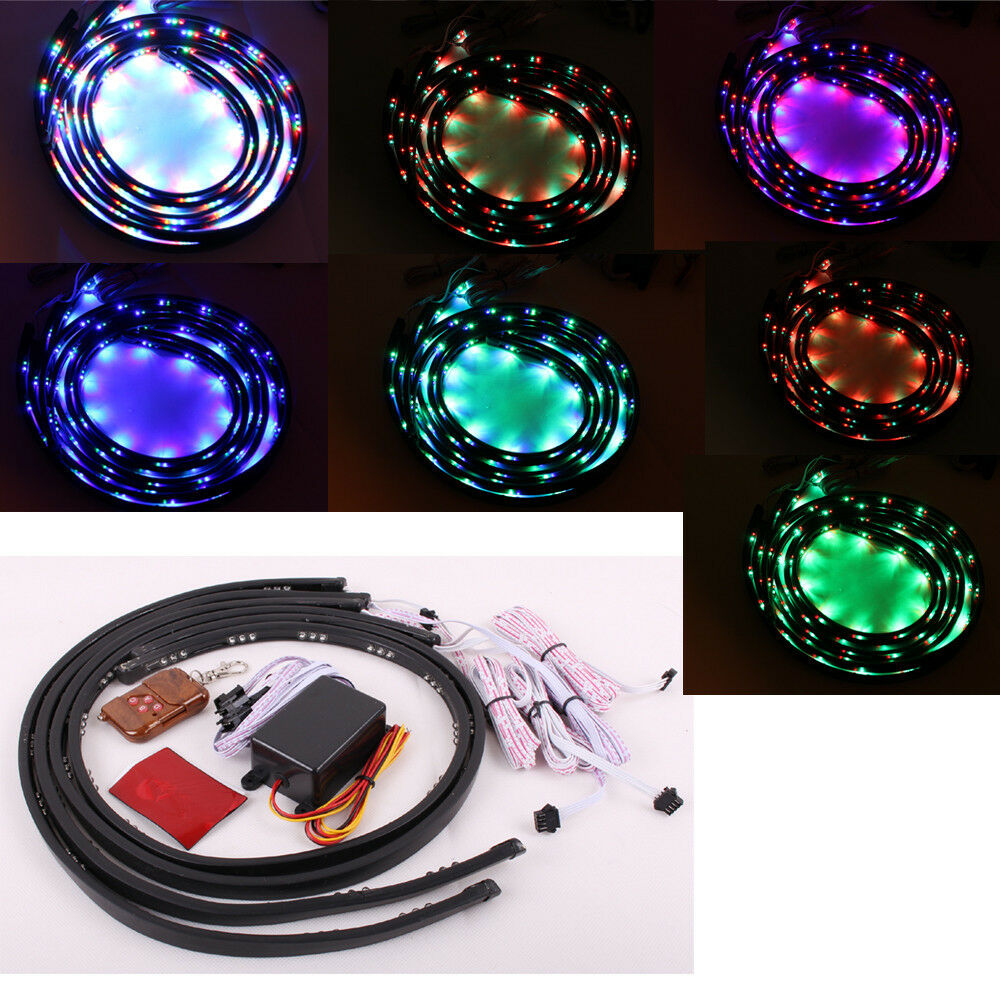 7 Color Led Strip Under Car Tube Underglow Underbody Neon Lights Kit 2ft X 3ft Ebay