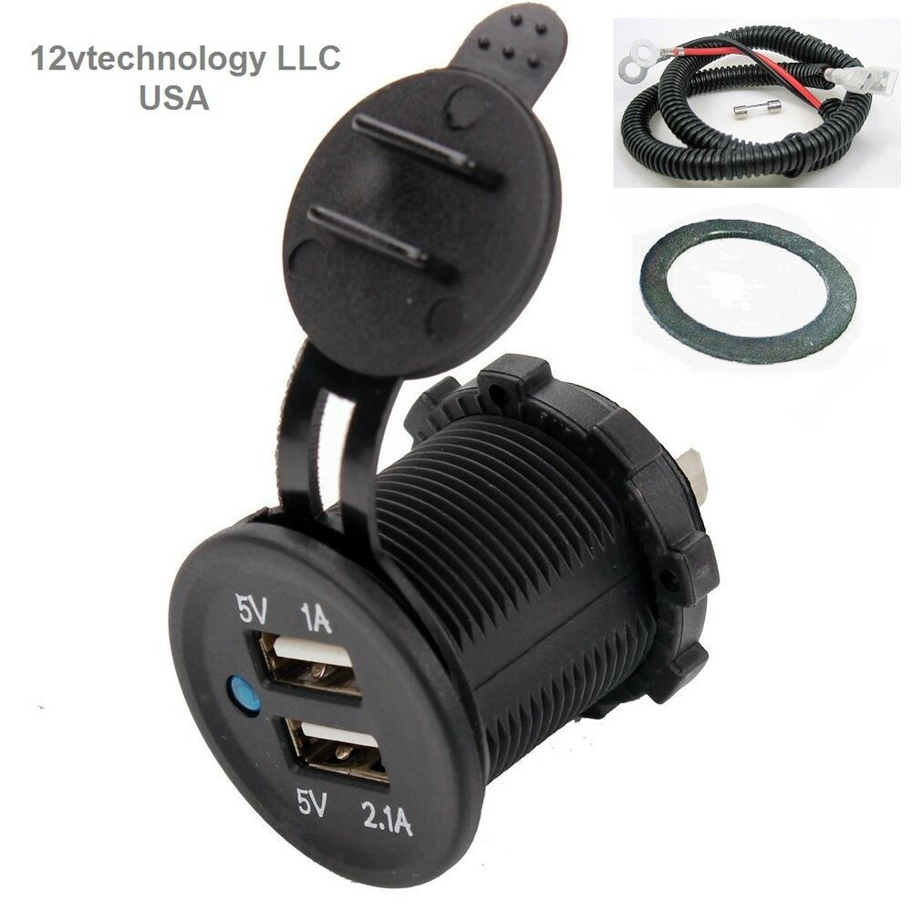 Waterproof Dual Usb Charger Socket Outlet 31 Amp Panel Mount Jack Motorcycle Fuse Box Clicking Ebay