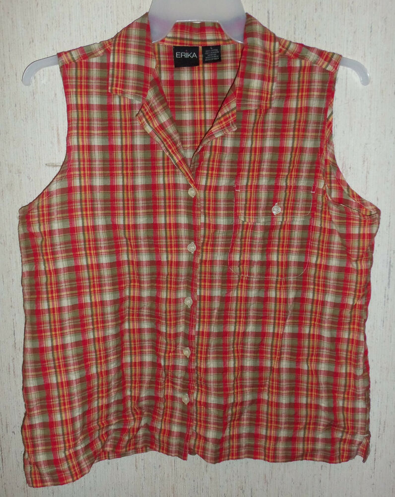 Nwot womens erika red plaid seersucker blouse size l ebay Womens red plaid shirts blouses