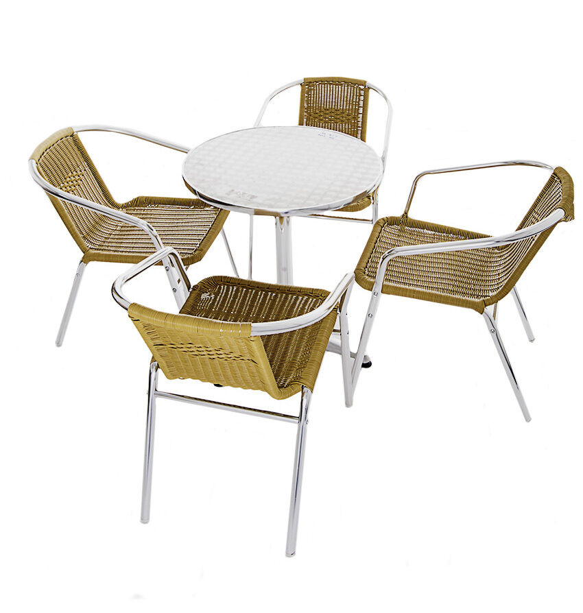 Yellow rattan bistro furniture cafe table and chairs for Garden table and chairs
