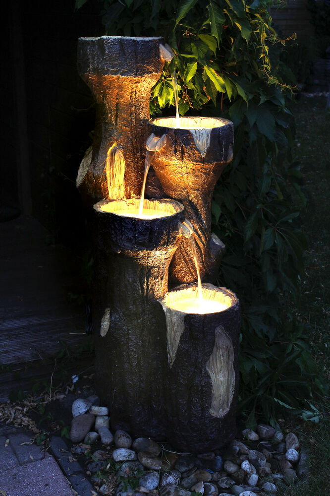 gartenbrunnen baumstamm 120 cm mit led beleuchtung springbrunnen brunnen neu ebay. Black Bedroom Furniture Sets. Home Design Ideas