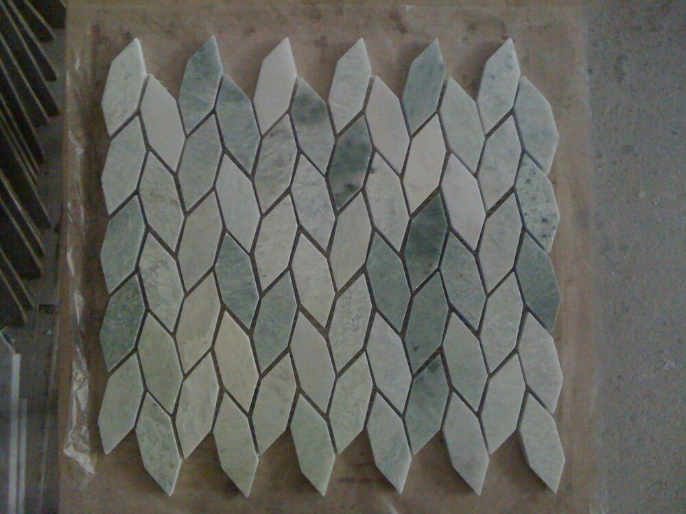 Marble polished ming green diamond leaf mosaic tile free