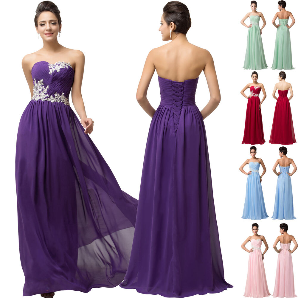 Chiffon maxi evening bridesmaid ball gowns wedding party for Ebay wedding bridesmaid dresses