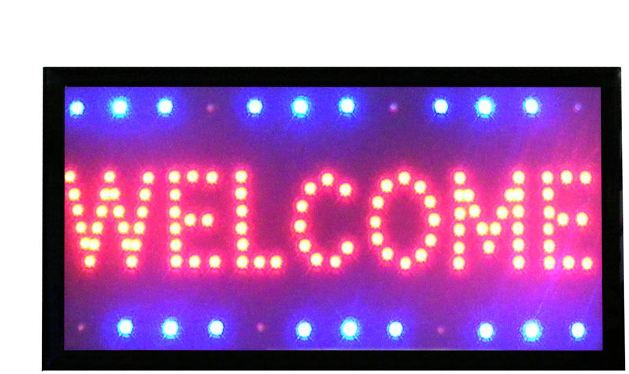 willkommen welcome schild led leuchtreklame neon werbung leuchte schild led ebay. Black Bedroom Furniture Sets. Home Design Ideas
