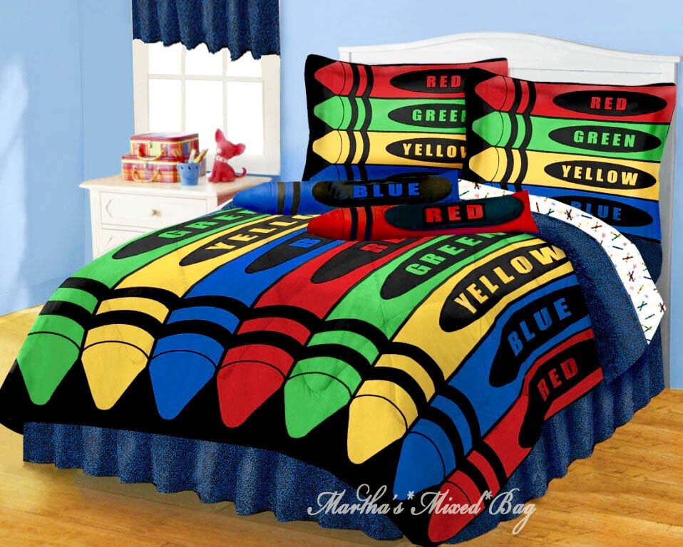 Boy girl crayons red blue comforter set twin amp full sizes drapes