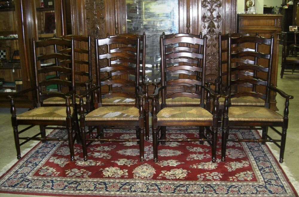 Set Of 10 Antique Style Country French Ladderback Dining
