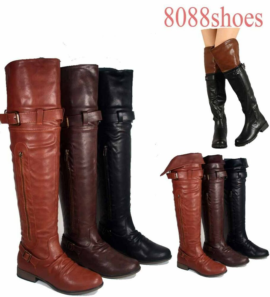 s fashion low heel toe buckle thigh high boot