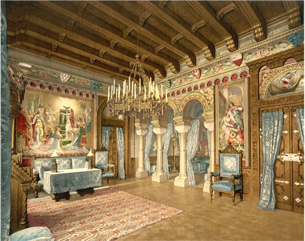 6432.Great room in palace.chandelier.cathedral ceilings.POSTER.art wall decor eBay