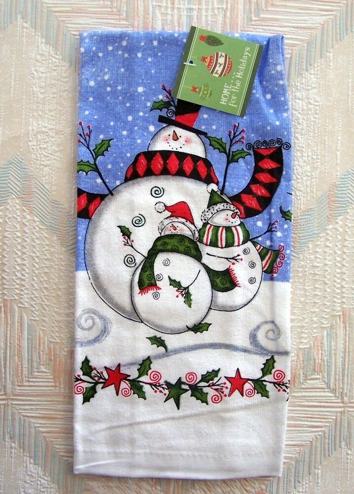 snowman kitchen towel kay dee holly jolly holiday pattern ebay. Black Bedroom Furniture Sets. Home Design Ideas