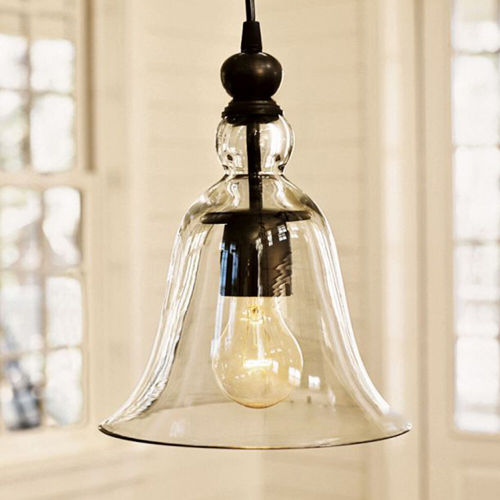 Glass pendant light kitchen light dining room pendant light home decor e27 ebay - Modern pendant lighting for kitchen ...