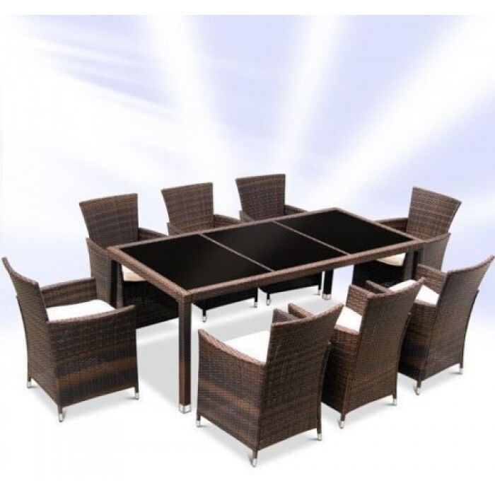Rattan garden furniture dining table and 8 chairs dining for Outdoor patio table and chairs