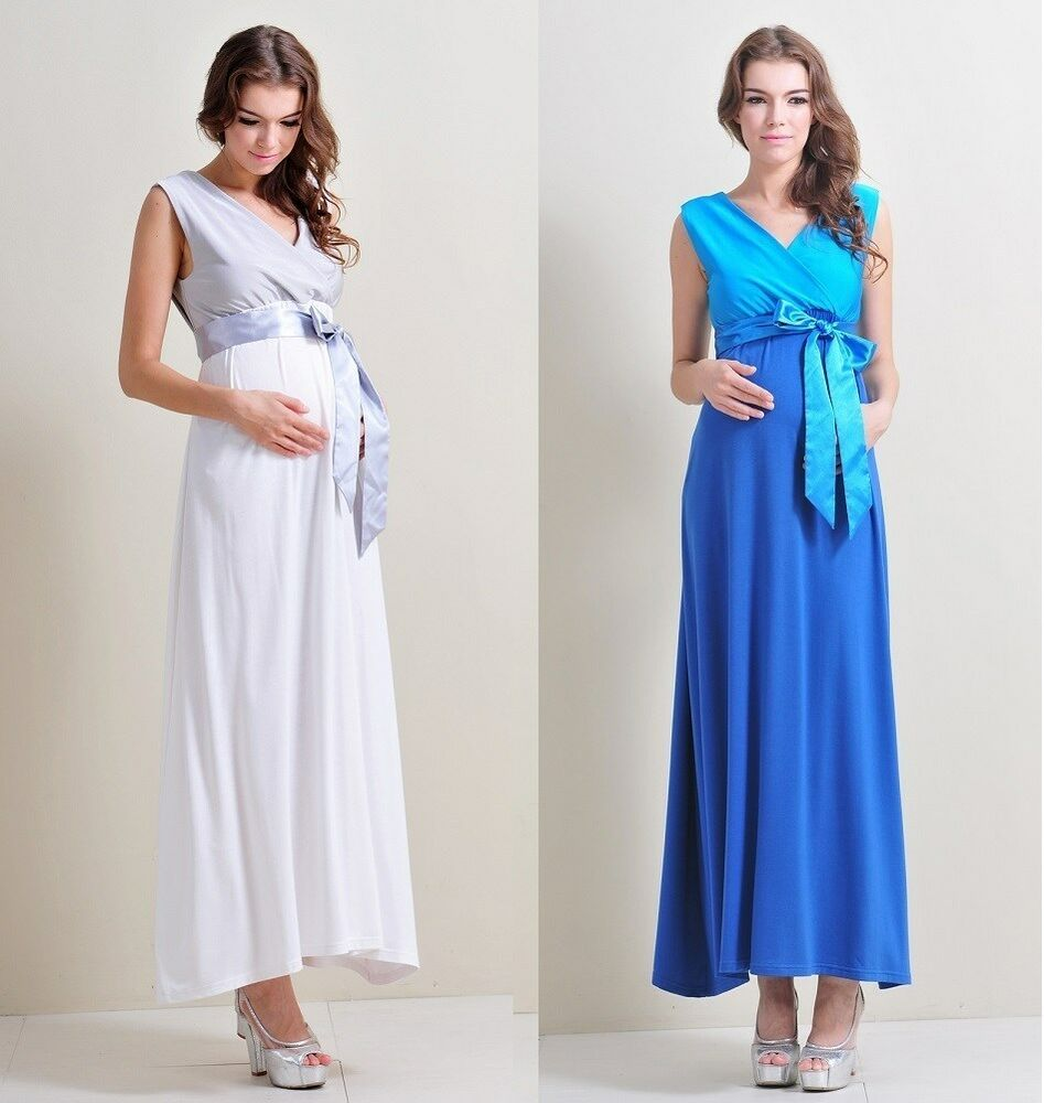 Maternity evening gowns maxi babyshower wedding bridal for Maxi maternity dresses for weddings