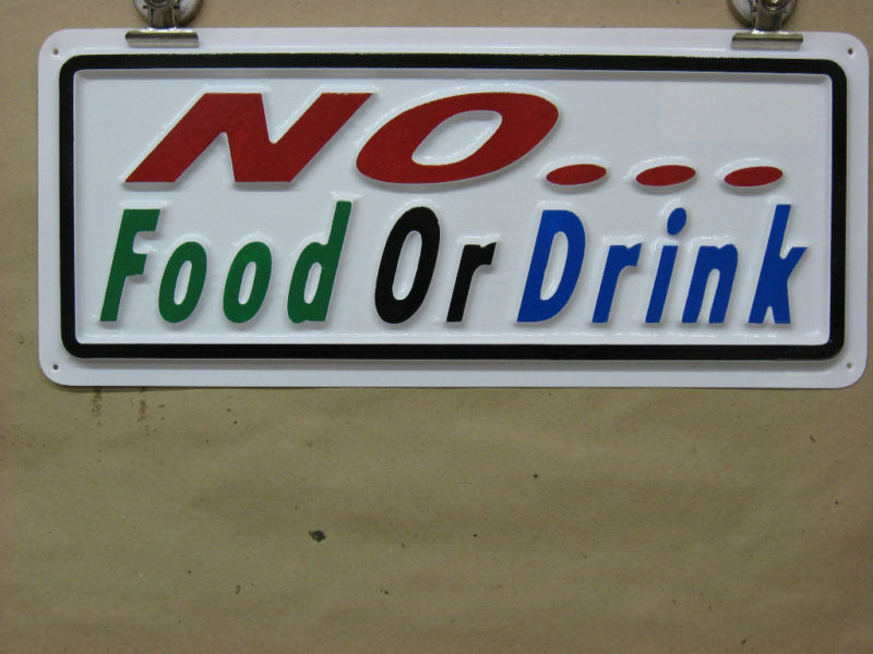 No food or drink 3 d embossed plastic sign 5x13 store for D sign shop