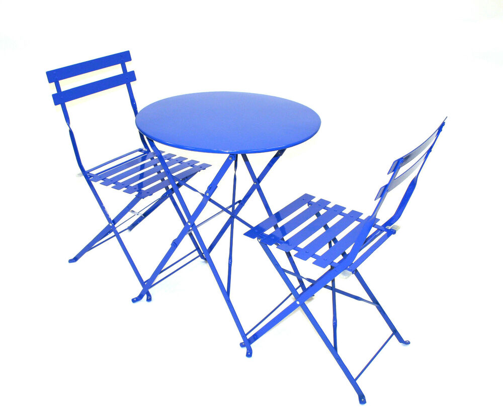 blue bistro garden set metal bistro set balcony sets balcony furniture ebay. Black Bedroom Furniture Sets. Home Design Ideas