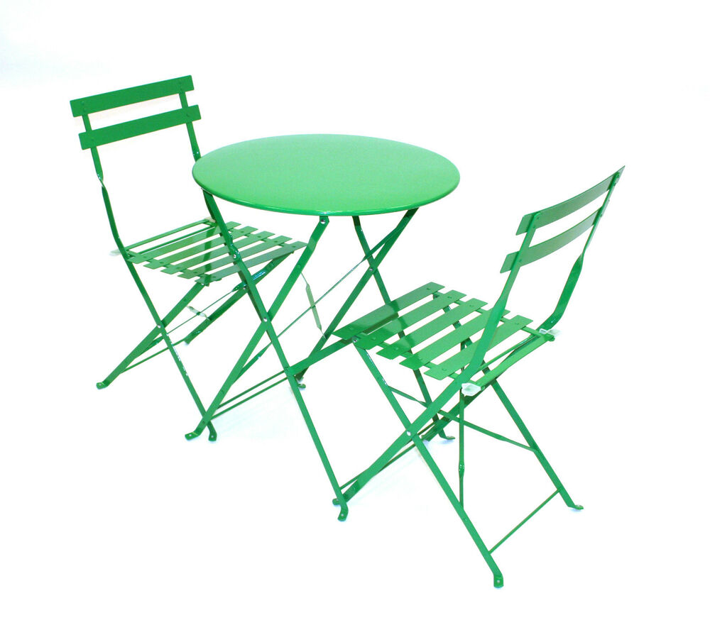 Green Bistro set Green Balcony Set Metal folding table and 2 chairs