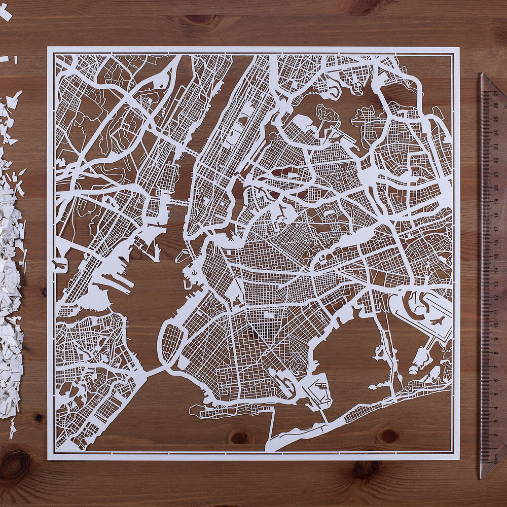 Paper cut map new york paper art original design ideal for Art and craft stores nyc