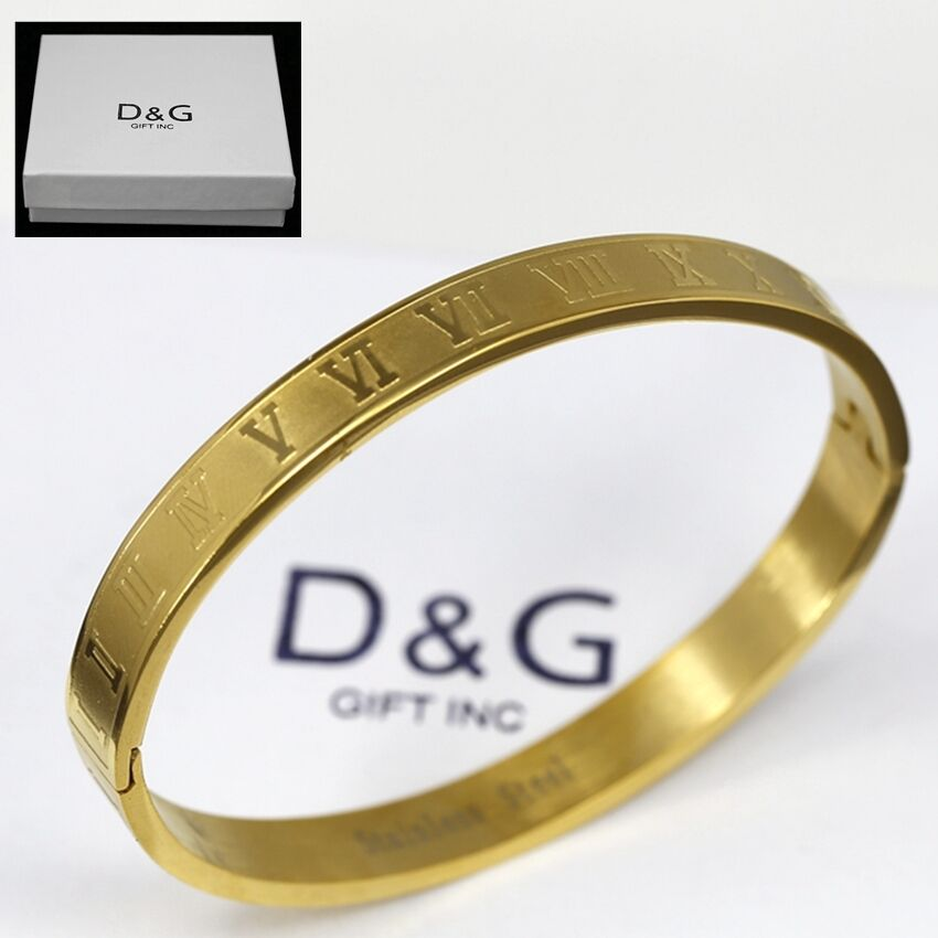 Dg Men S Stainless Steel 7 Quot Gold Design Roman Numeral