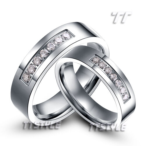 tt s steel eternity cz wedding band ring size 5 14 mens womens for