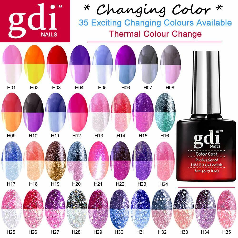 UK ALL New GDi Nails Thermal Color Change UV LED Soak Off ...