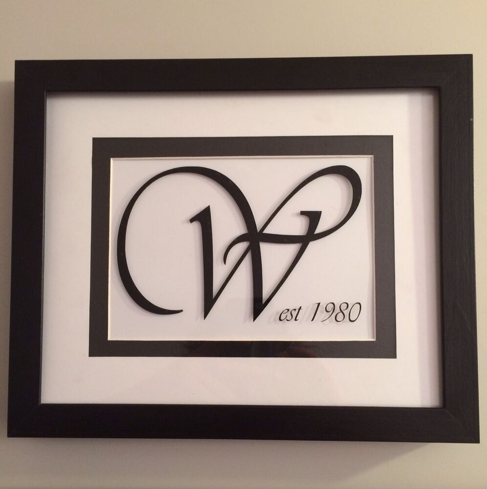 Wall Art With Wedding Date : Picture frame with initial est date gift wedding christmas