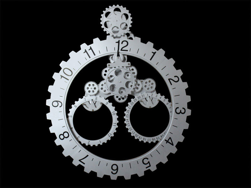 modern contemporary mechanical gear wall clock with