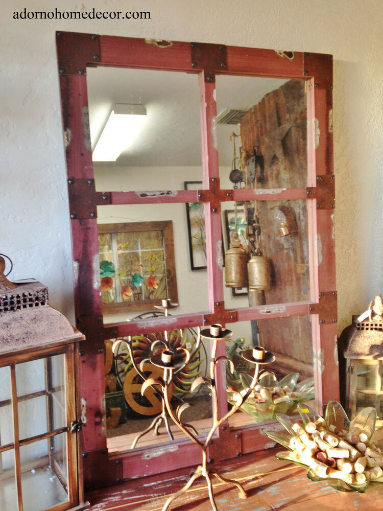 Rustic Antique Wall Decor : Wood red wall mirror industrial metal rustic distressed