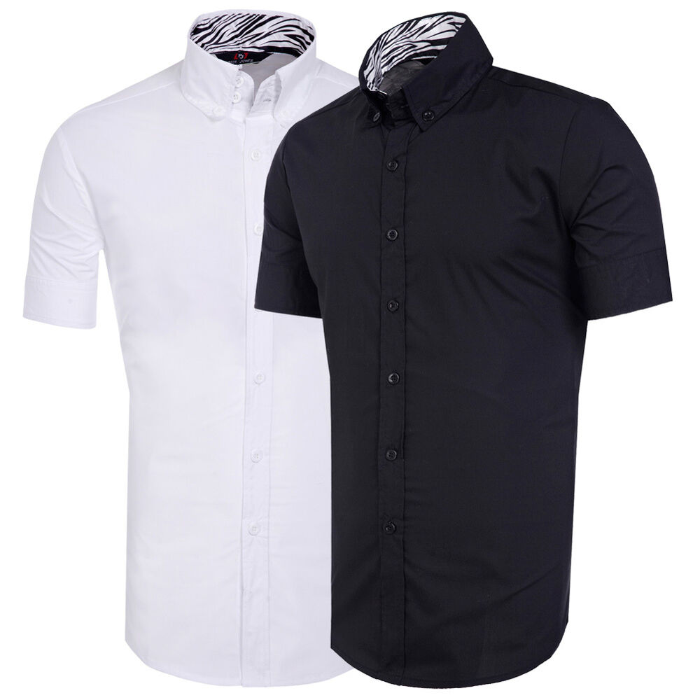 Stylish mens short sleeve button shirts tops casual slim for Mens short sleve dress shirts