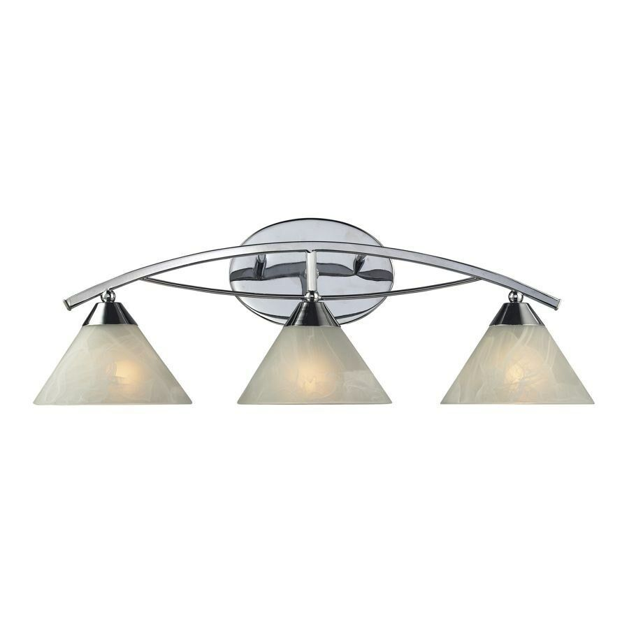 3 Light Bathroom Vanity Lighting Fixture Polished Chrome White Glass Elk Ebay