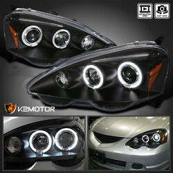 For 2002-2004 Acura RSX LED Halo Rims Projector Headlights Lamp Black Left+Right