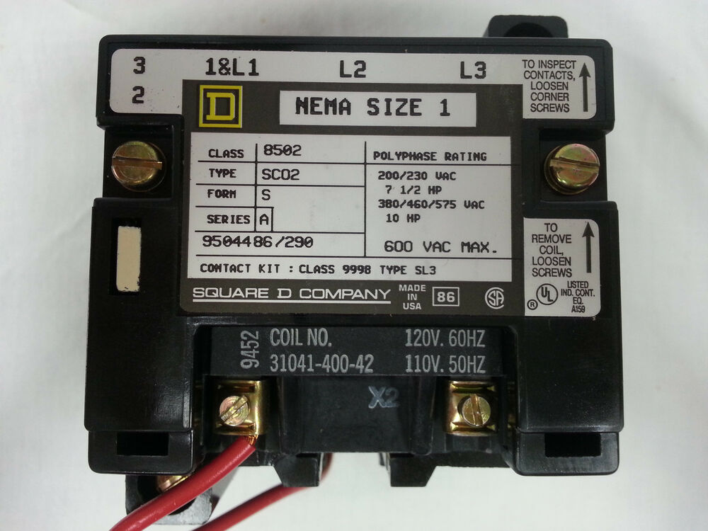 8502 sco2v02s square d full voltage contactor 27amp 600vac for Square d motor starter sizing chart