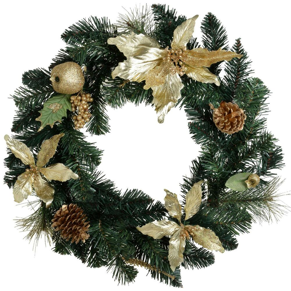 Gold & Glitter Decorated Wreath Christmas Decoration - Size 45cm ...