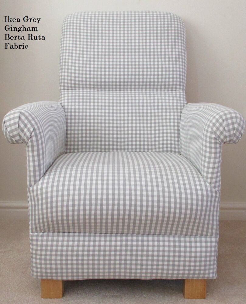 Ikea Grey Gingham Fabric Chair Berta Ruta Check Armchair Nursery Occasional N