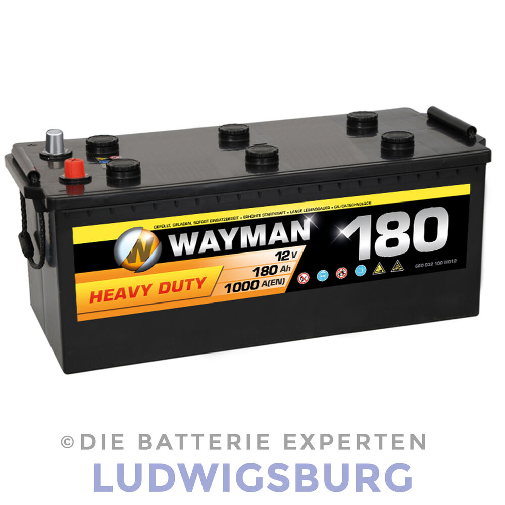 wayman lkw batterie 12v 180ah 1000a ersetzt 160ah 170ah. Black Bedroom Furniture Sets. Home Design Ideas