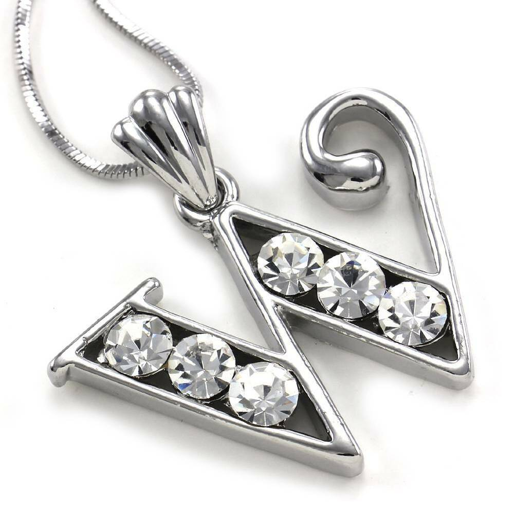 Alphabet Jewelry: Alphabet Initial Letter W Pendant Necklace Charm Silver Tone Teen Ladies Jewelry