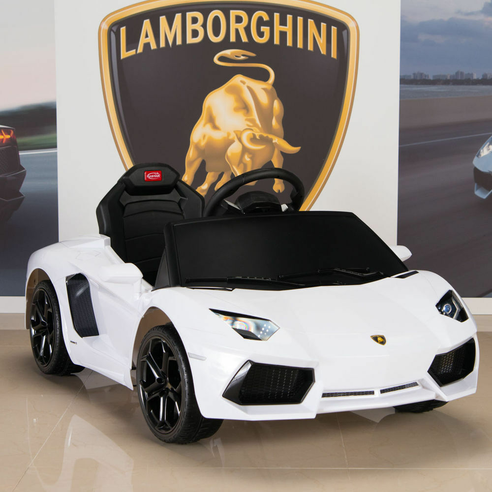 lamborghini kids ride on power wheels car w rc remote control white aventador ebay. Black Bedroom Furniture Sets. Home Design Ideas