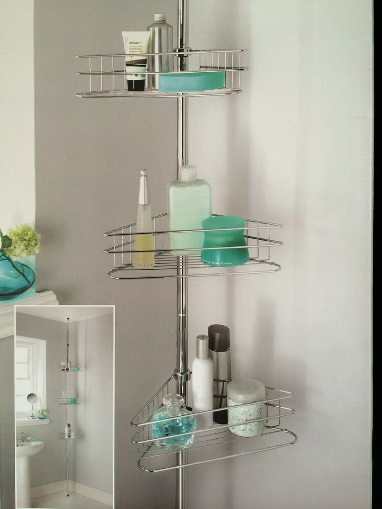 Beldray 3tier Shower Caddy Tension Rod Bathroom