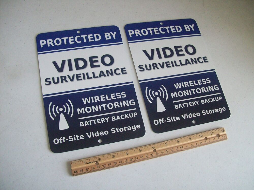 2 Video Surveillance Security System 7x10 Metal Yard Signs